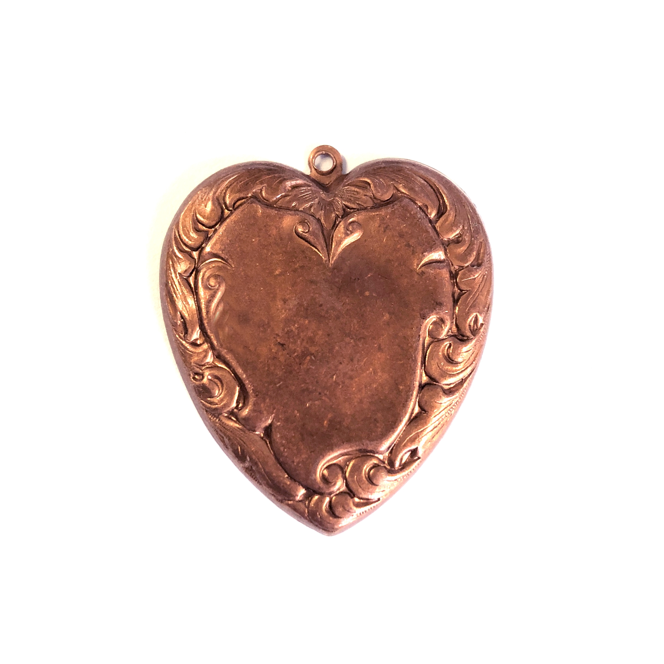 Victorian Heart Pendant, Gingerbread Brass, 0172, antique copper, jewelry making supplies, heart base, heart jewelry, heart pendants, nickel free jewelry, US made, bsueboutiques, 30 x 26mm