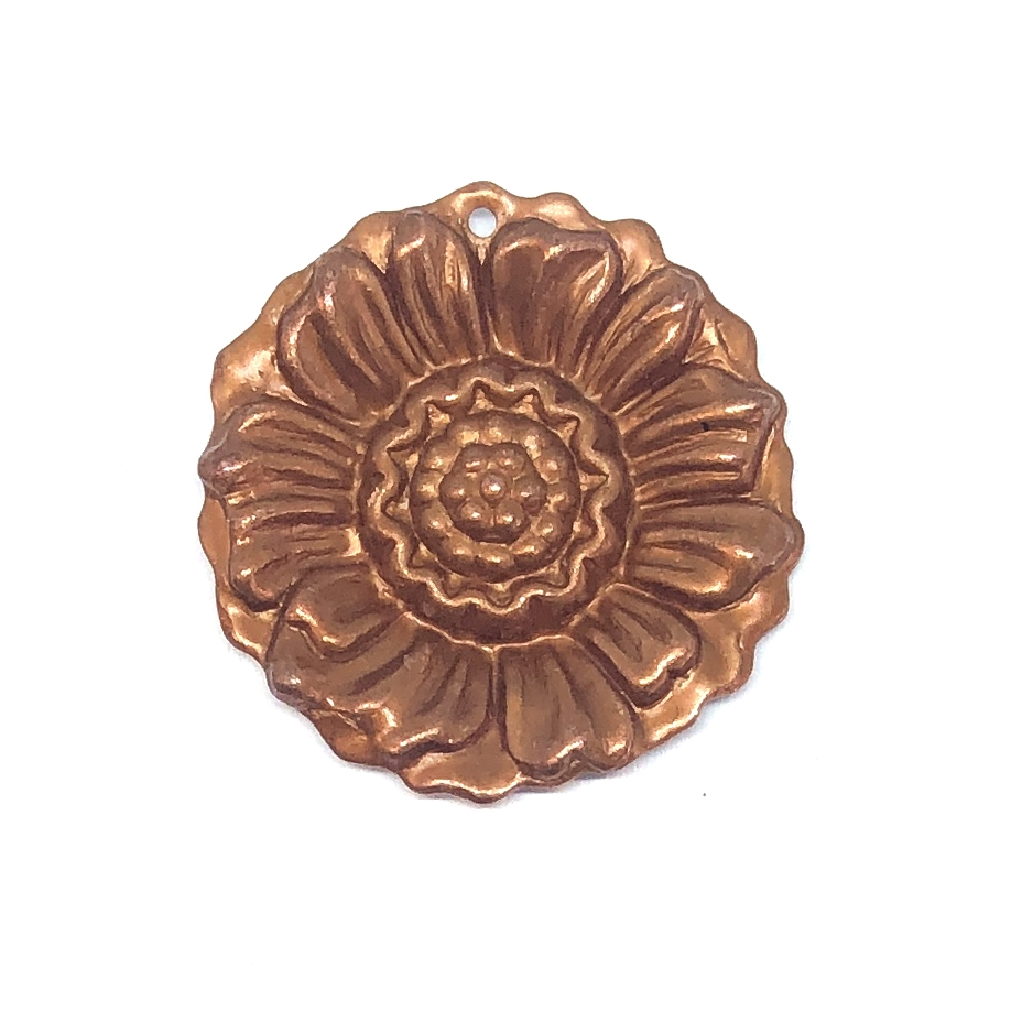 brass flowers, brass sunflower, gingerbread, flower pendants, jewelry making, jewelry supplies, 30mm, brass stampings, B'sue Boutiques, US made, nickel free, 0514, flower