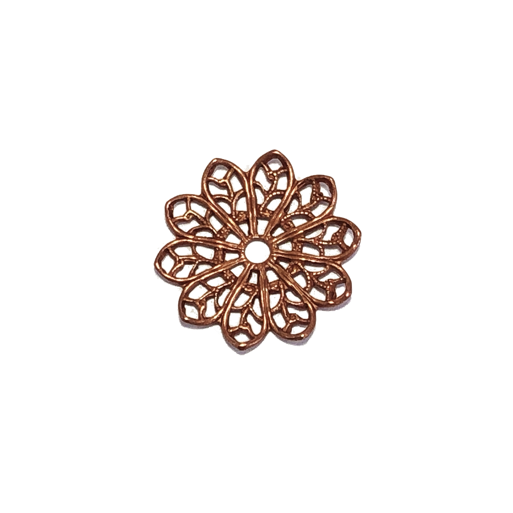 beading flower filigree, filigree, Haskell style, gingerbread, beading, beading filigree, plated brass, old jewelry parts, brass stampings, brass filigree, 0537, beading flower, 19mm