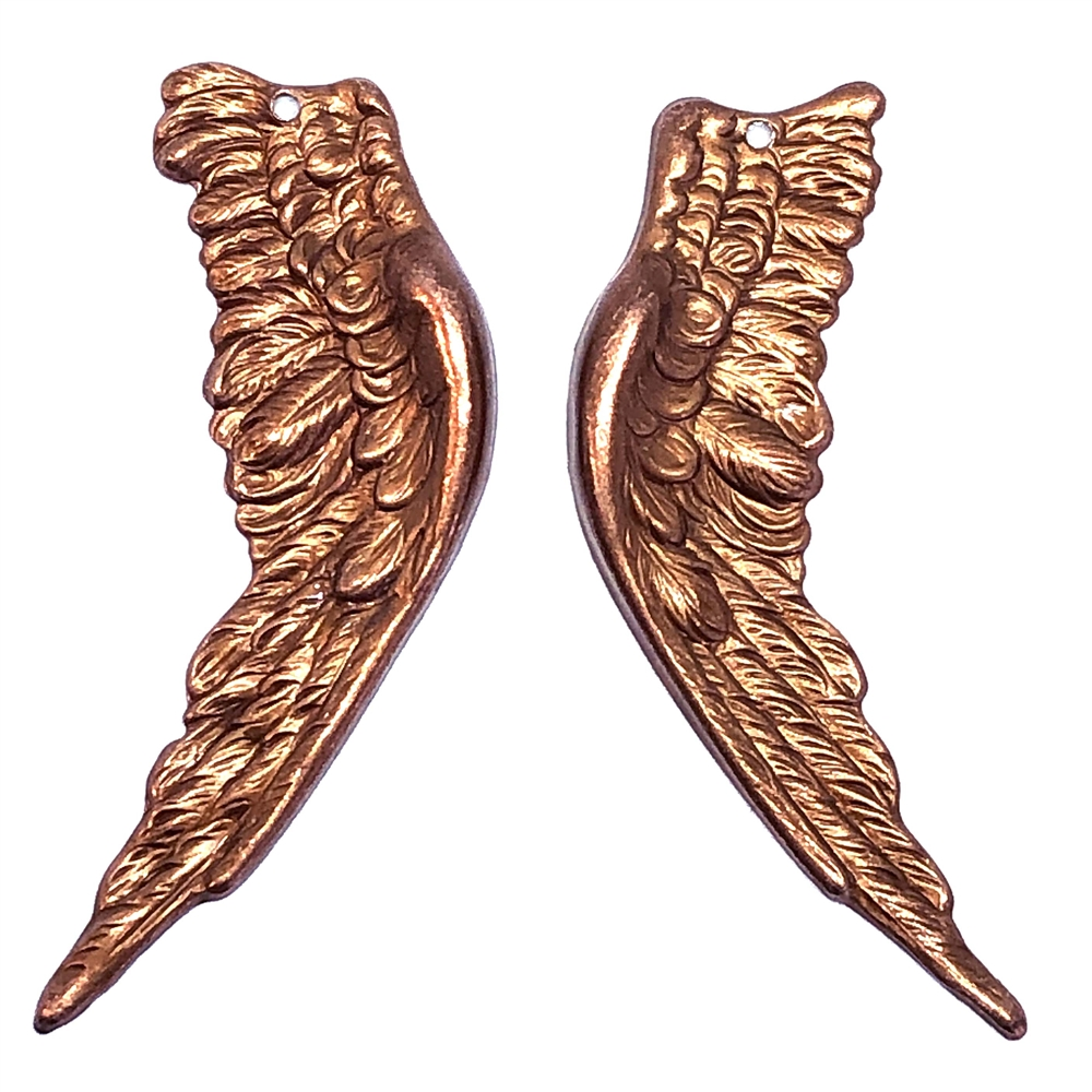 brass wings, bird wings, gingerbread brass, 0583, copper, vintage jewelry supplies, brass jewelry parts, jewelry making supplies, US made, nickel free, Bsue Boutiques, 58mm, wings