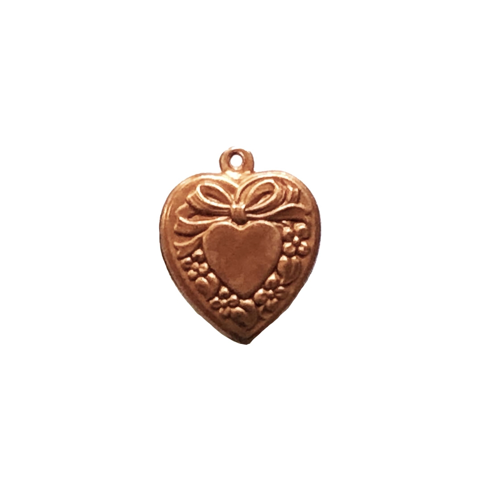 puffy heart inside a heart char, gingerbread brass, charm, heart charm, puffy charm, heart bow charm, floral border charm, 18x16mm, pendant, heart inside a heart, jewelry making, jewelry supplies, jewelry charm, vintage supplies, heart jewelry, 0617