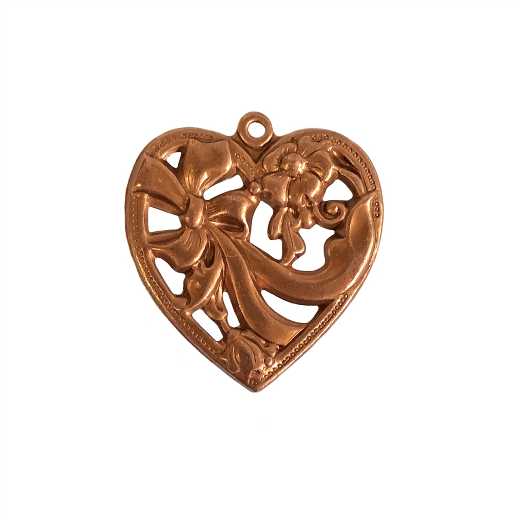 bow design heart charm, gingerbread brass, pendant, filigree, heart, charm, bow heart, brass stamping, heart filigree, brass, US made, nickel free, B'sue Boutiques, 28x26mm, bow heart charm, jewelry making, jewelry supplies, vintage supplies, 0730