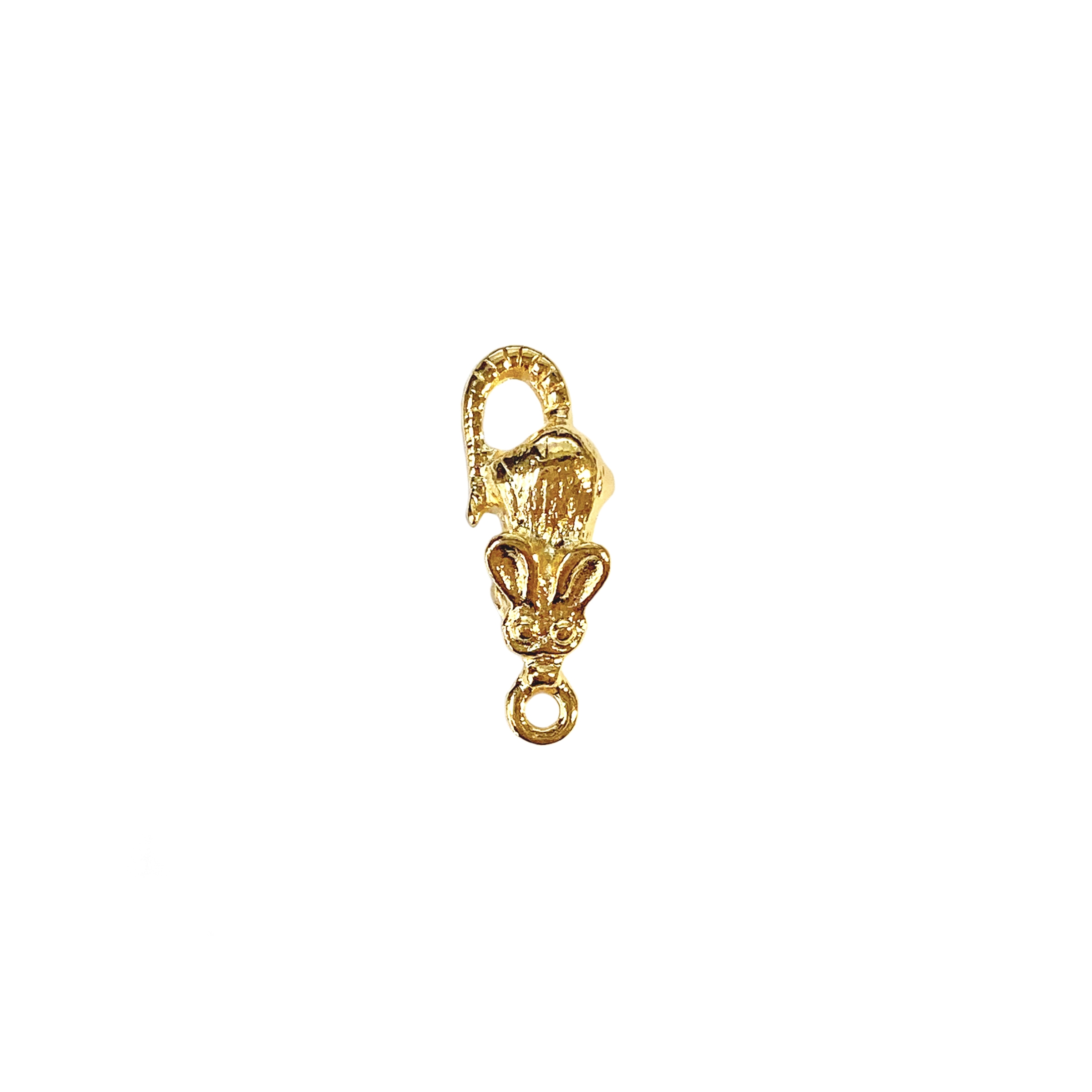 mouse charm, 22K gold finish pewter, lead-free pewter, B'sue by 1928, vintage jewelry parts, pewter jewelry parts, nickel-free, US made, 1928 jewelry, B'sue Boutiques, vintage supplies, jewelry supplies, pewter, 18x7mm, mouse, charm, antique gold, 01399