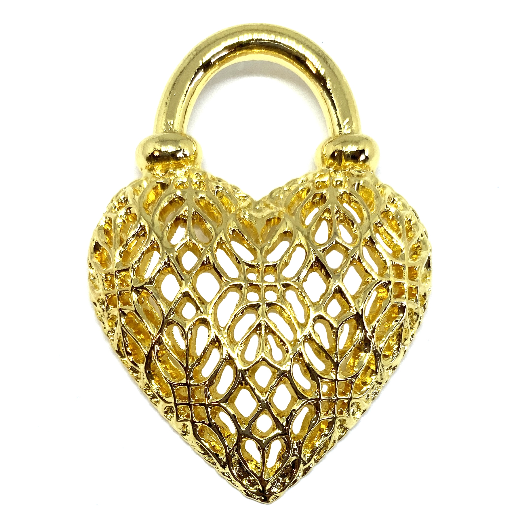 22K gold finish, filigree heart, 01621, lead free pewter, B'sue by 1928, pewter jewelry parts, lead free finish, made in the USA, 1928 Company, designer jewelry, B'sue Boutiques, heart