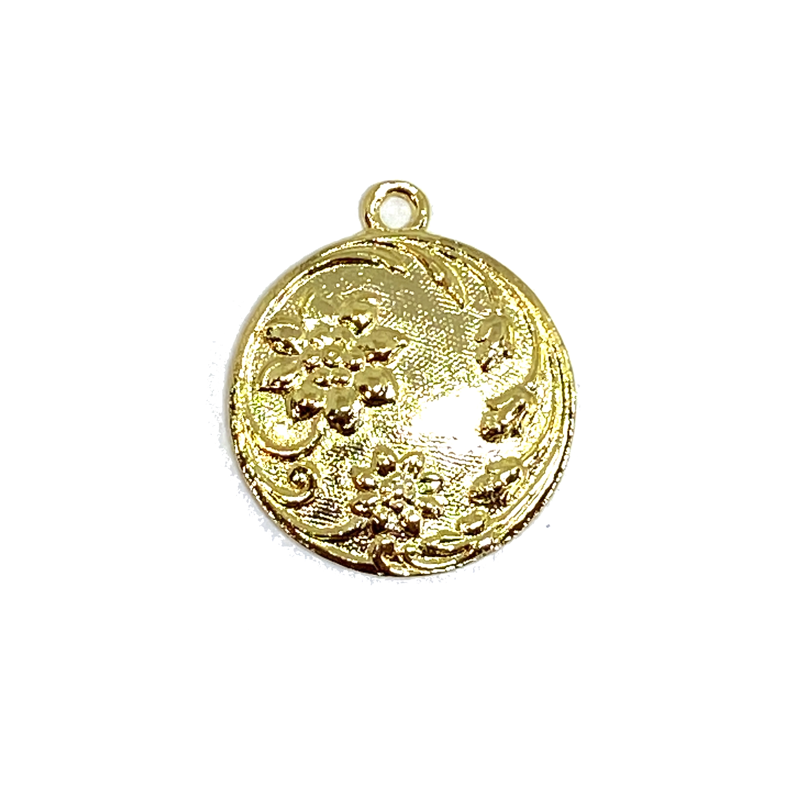 22K gold finish pewter, floral pendant, 01626, gold, B'sue by 1928, lead free pewter castings, cast pewter jewelry findings, made in the USA, 1928 Company, B'sue Boutiques