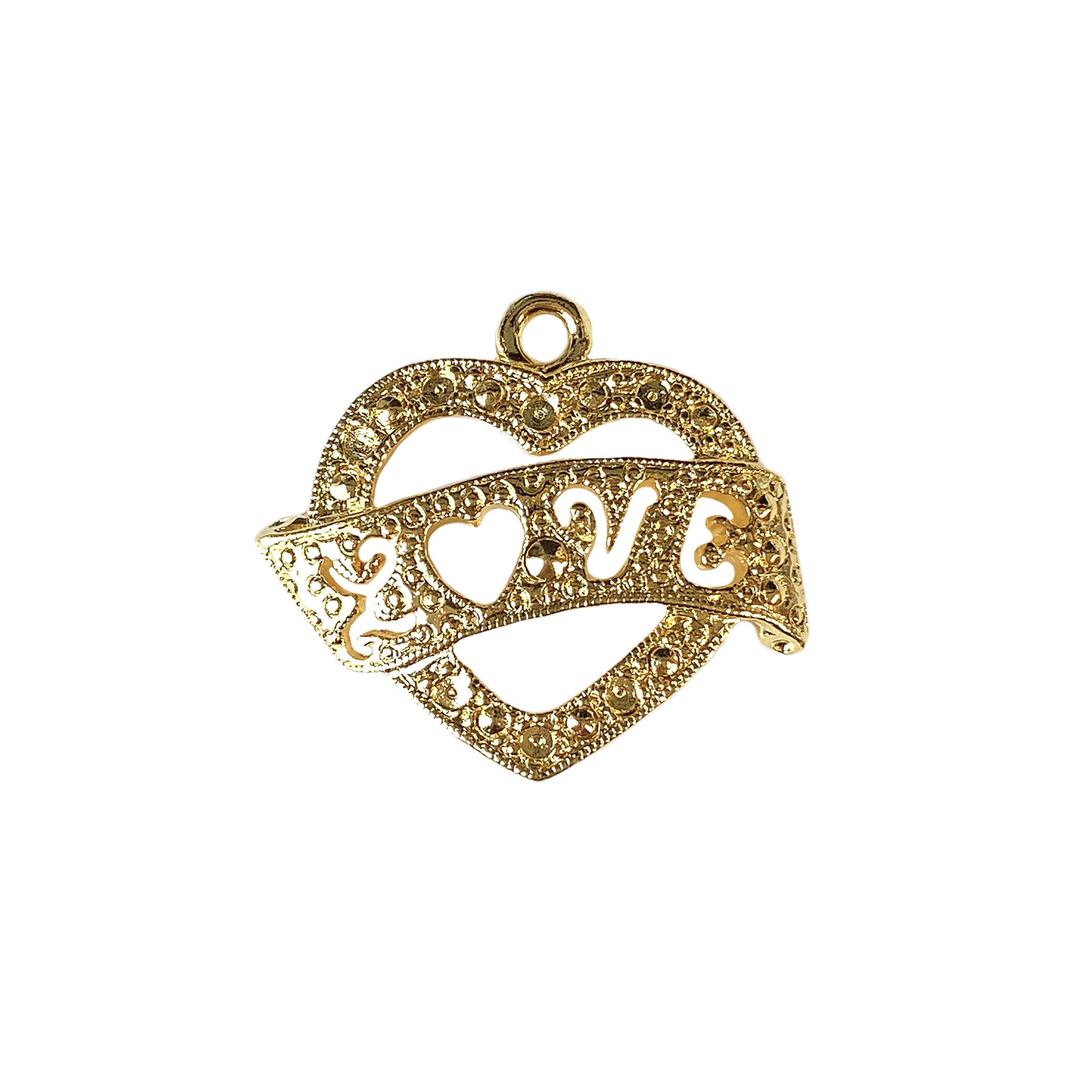 heart love banner pendant, 22K gold finish pewter, love banner, charm, pendant, gold finish, gold, heart banner pendant, pendant jewelry, 22K gold, jewelry making, vintage supplies, heart charm, 20x26mm, jewelry supplies, love heart pendant, 01627