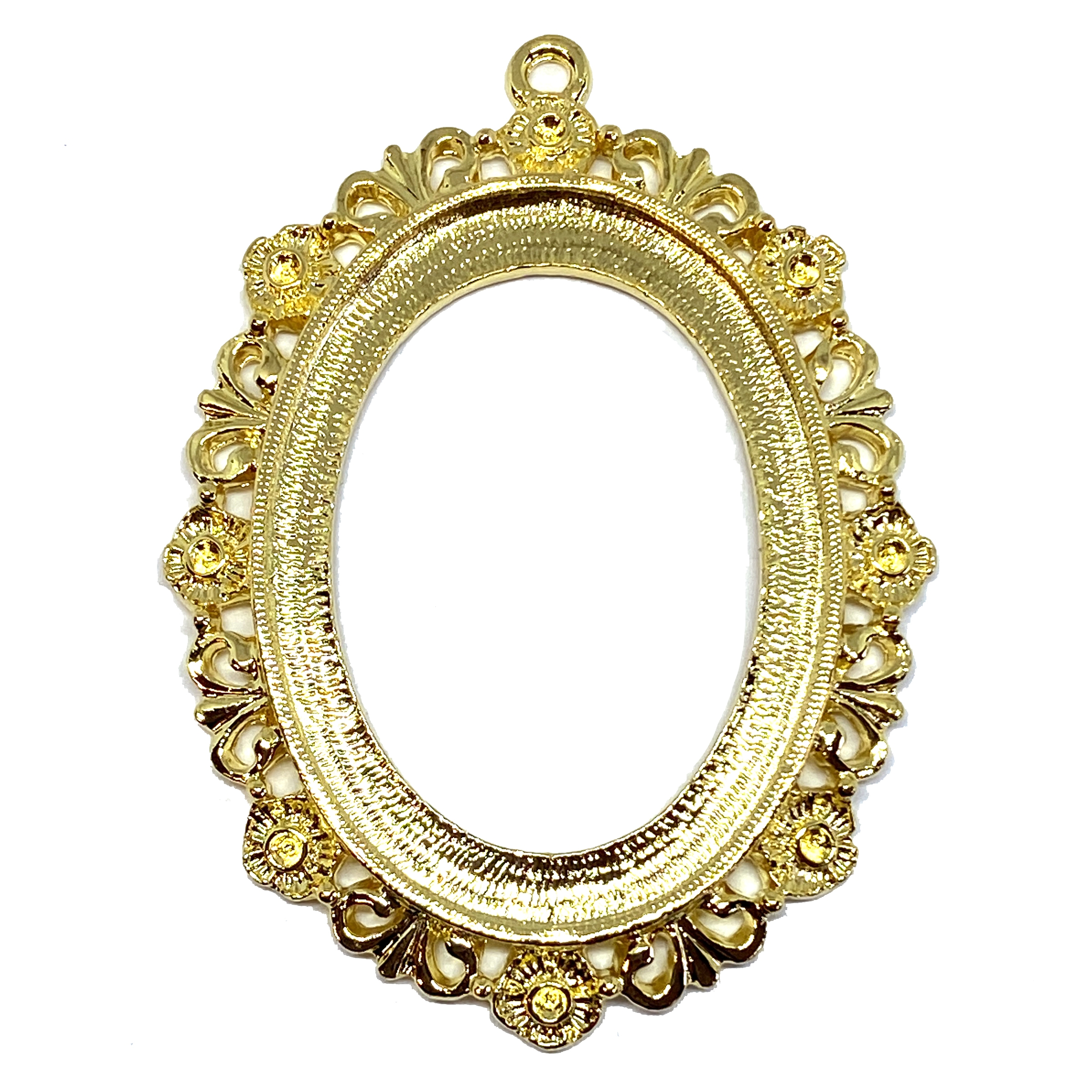 22K gold finish cameo mount, 40x30mm mount, Victorian, B'sue by 1928, lead free pewter, pewter castings, cast jewelry parts, vintage, cameo mount, polished pewter, plated jewelry castings, made in the USA, 1928 Jewelry, B'sue Boutiques, 01632