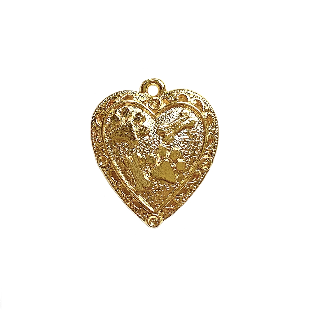 1928 Jewelry, paw print heart pendant, 22K gold finish, pet necklace, dog jewelry, animal style jewelry, cast pewter, puppy, B'sue Boutiques, paw print pendant, 1928 Jewelry Company, B'sue by 1928, dog pendant, dog, heart charm, gold, 02215