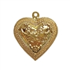 forget me not heart pendant, 22K gold finish pewter, vintage, B'sue by 1928, lead-free pewter castings, cast pewter jewelry findings, US-made, heart charm, gold, heart pendant, 1928 Company, B'sue Boutiques, 36x32mm, heart, gold finish, gold, 02216