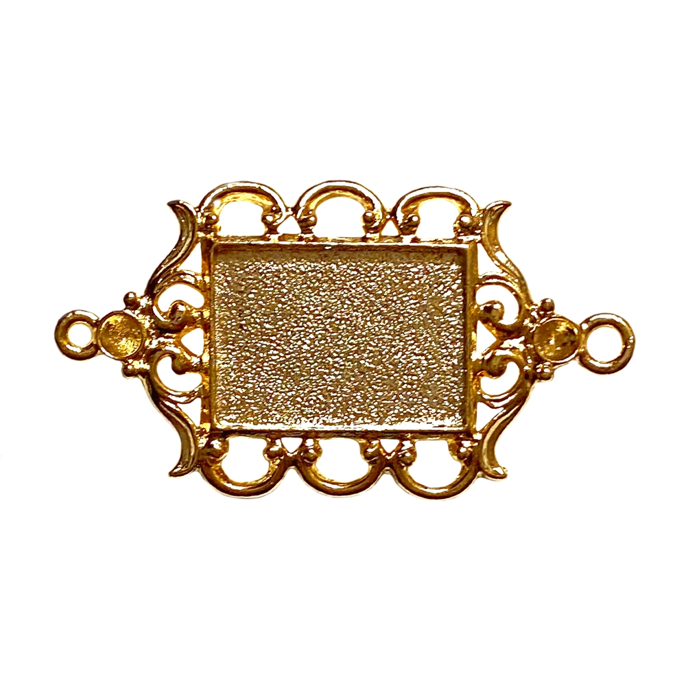 framed jewelry connector, 22K gold finish pewter, gold,jewelry connector, gold finish, 36x24mm, cameo mount, connector mount, mount, stone mount, resin mount, jewelry making, vintage supplies, jewelry supplies, B'sue Boutiques, B'sue by 1928, 02291