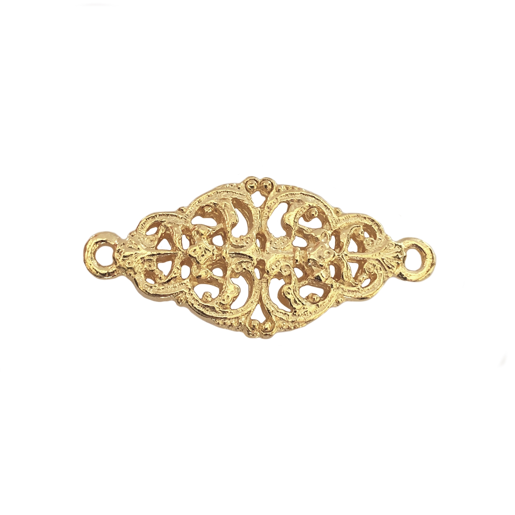 Victorian filigree connector, 22K gold finish pewter, connector, jewelry connector, bracelet connector, filigree connector, gold, gold finish, Victorian style, 22K gold, lead free pewter, US made, nickel free, B'sue by 1928, B'sue Boutiques, 16x34mm, 0435