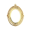 victorian backless bezel, 22K gold finish pewter, cameo mount, 25x18mm mount, Victorian, B'sue by 1928, lead-free pewter, cast jewelry parts, vintage, cameo mount, jewelry castings, US-made, 1928 Jewelry, B'sue Boutiques, bezel, mount, gold, 0440