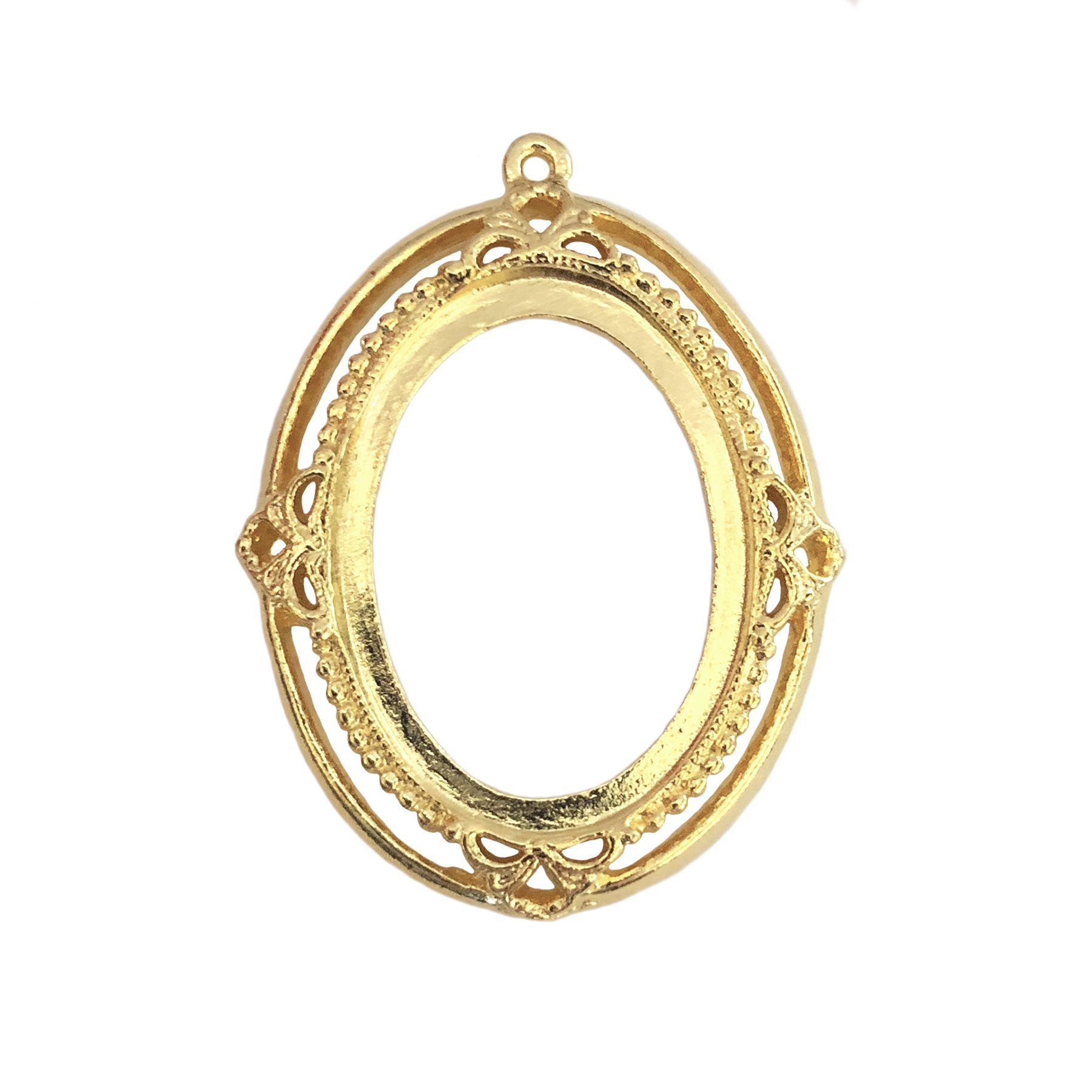 Victorian backless bezel,22k gold finished pewter, cameo mount, 25x18mm mount, Victorian, B'sue by 1928, lead free pewter, pewter castings, cast jewelry parts, vintage, cameo mount, plated jewelry castings, us made, 1928 Jewelry, B'sue Boutiques, 0440