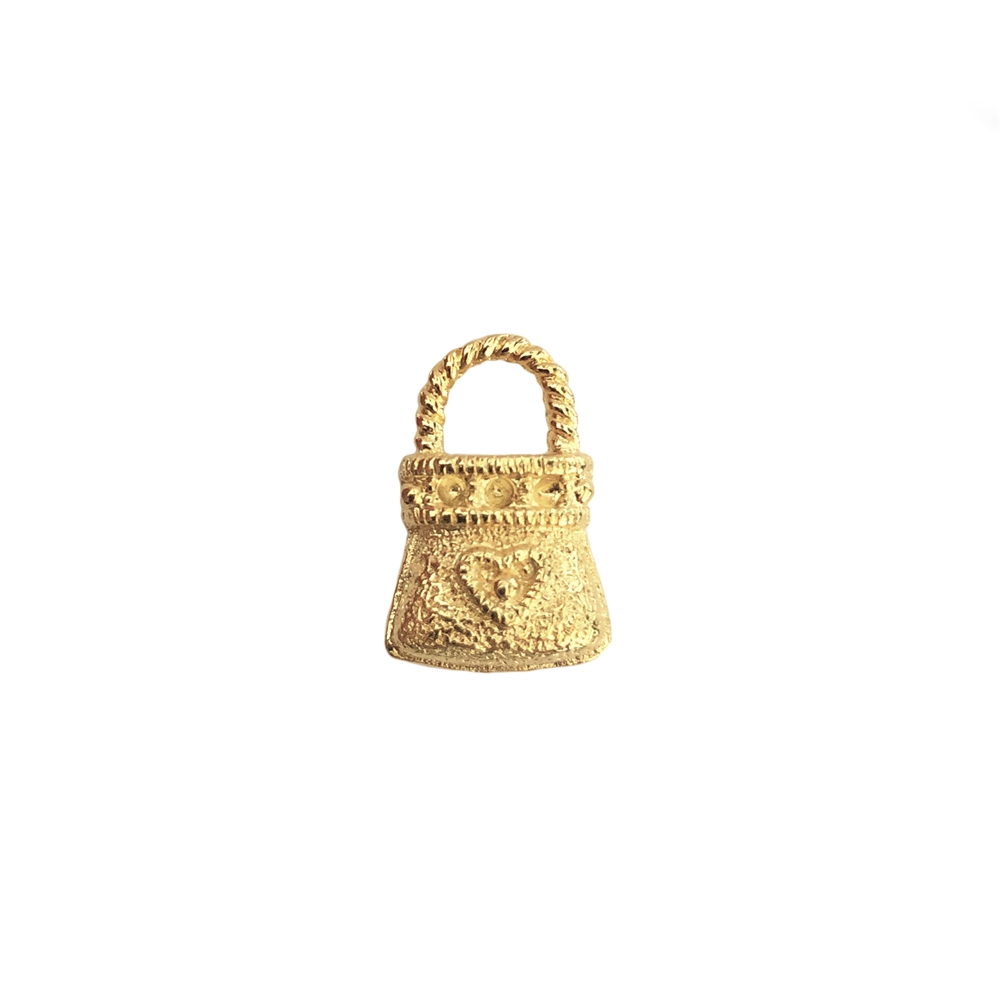 purse charm, 22k gold finish pewter, charm, purse, vintage style, B'sue by 1928, jewelry charm, gold, gold finish, heart purse charm, lead free pewter, vintage jewelry parts, jewelry parts, nickel free, US made, 1928 Company, B'sue Boutiques, 17x11mm,0453