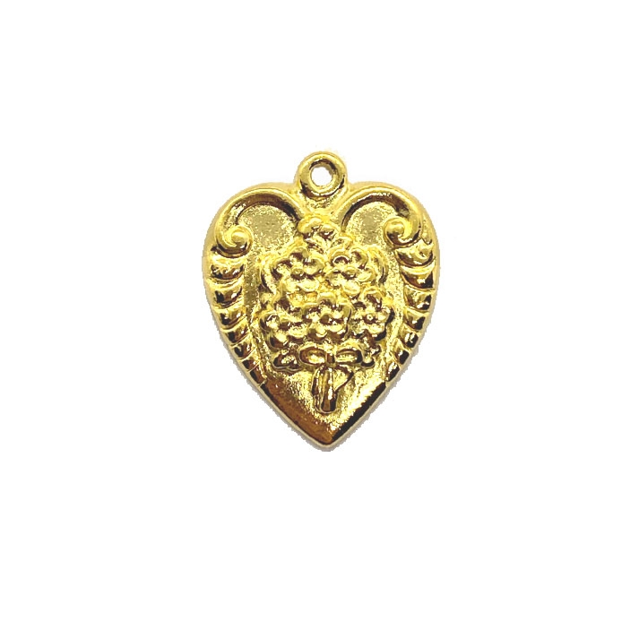 22K gold pewter, floral bouquet pendant, 04669, heart charm, B'sue by 1928, lead free pewter castings, cast pewter jewelry findings, made in the USA, flower charm, heart charm, 1928 Company, B'sue Boutiques