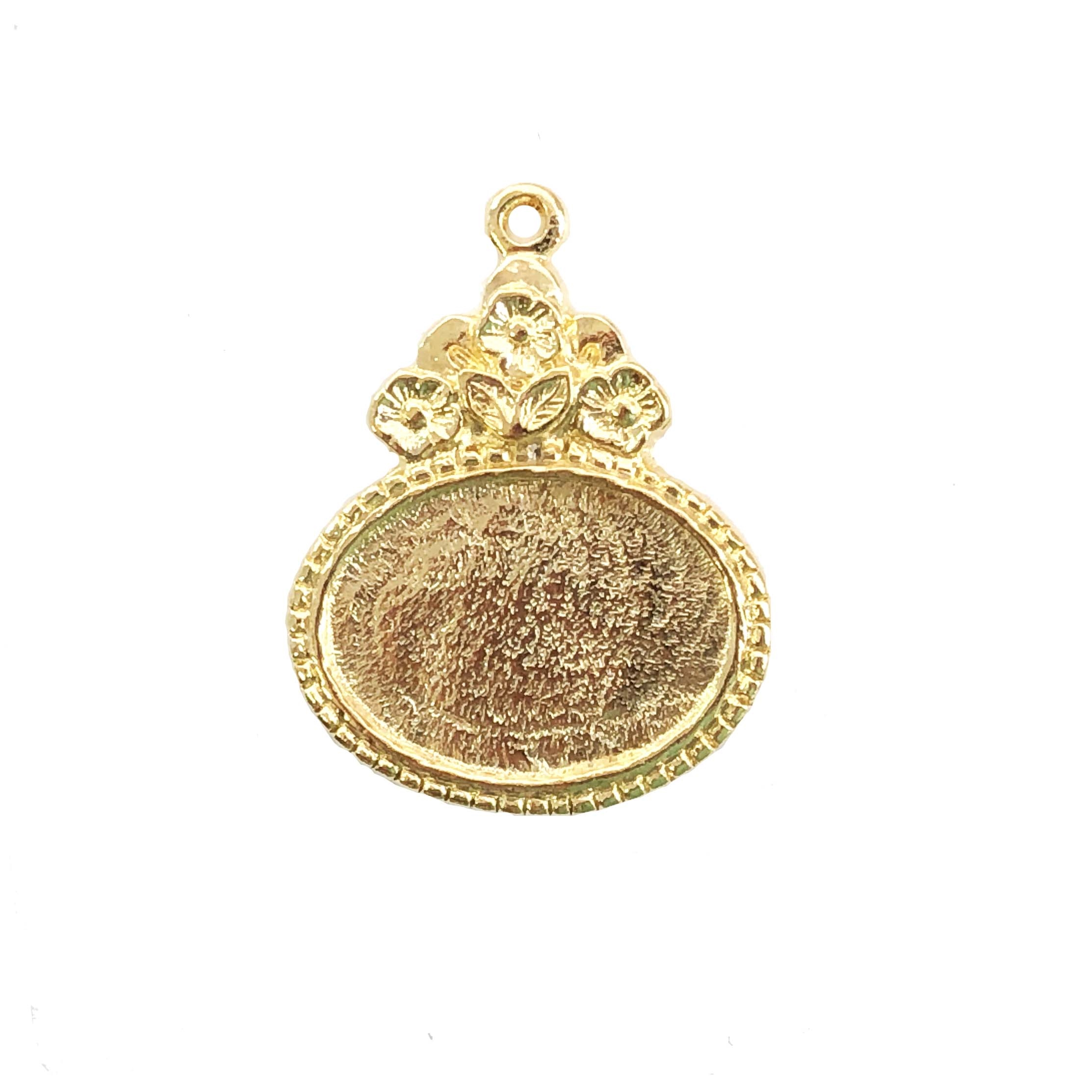 floral pendant mount, B'sue by 1928, floral mount, cameo mount, stone mount, 22K gold, gold finish, mount, vintage, lead-free pewter, vintage castings, US-made, vintage supplies, 1928 Jewelry, B'sue Boutiques, 18x13mm mount, pendant, floral mount, 062