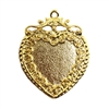 vintage style heart pendant, 22K gold finish pewter, B'sue by 1928, jewelry pendant, heart pendant, heart, pendant, gold, lead free pewter, gold finish, US made, designer jewelry, vintage supplies, B'sue Boutiques, heart charm, 35x32mm, 08510