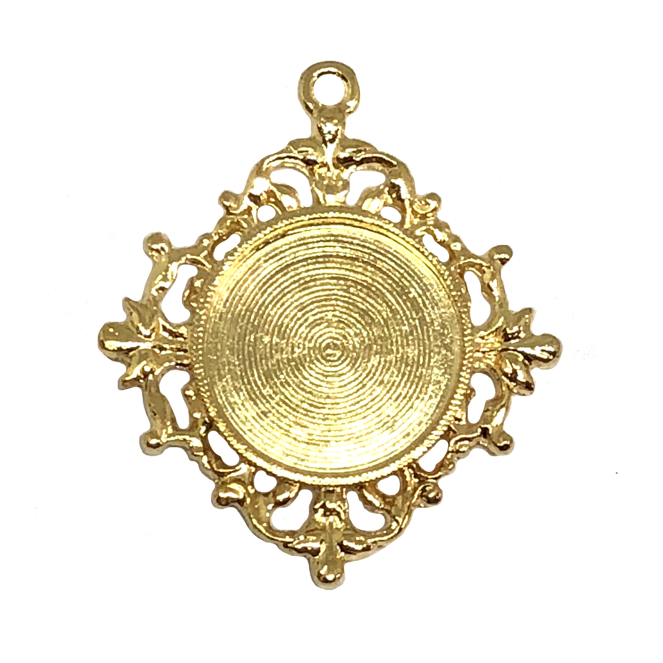 Victorian pendant mount, 22K gold finish pewter, B'sue by 1928, jewelry pendant, pendant mount, mount, pendant, gold, lead free pewter, gold finish, US made, designer jewelry, vintage supplies, B'sue Boutiques, 18mm mount, stone or cameo pendant, 08511
