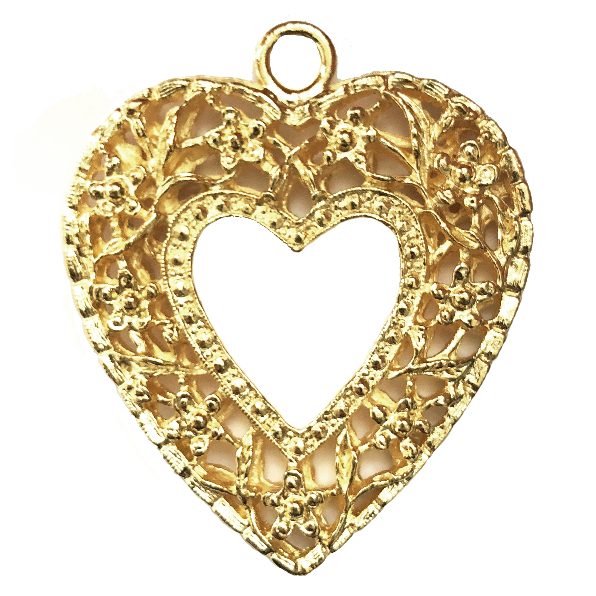 large floral heart pendant, 22K gold finish pewter, B'sue by 1928, jewelry pendant, heart pendant, floral heart, floral style, pendant, gold, lead free pewter, gold finish, US made, designer jewelry, vintage supplies, B'sue Boutiques, 45x42mm, 08512