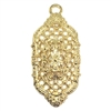 Victorian filigree, 22K gold finish pewter, B'sue by 1928, jewelry pendant, pendant, filigree pendant, gold, lead-free pewter, gold finish, US-made, designer jewelry, vintage supplies, B'sue Boutiques, 55x27mm, drop, filigree drop, lattice drop, 08513