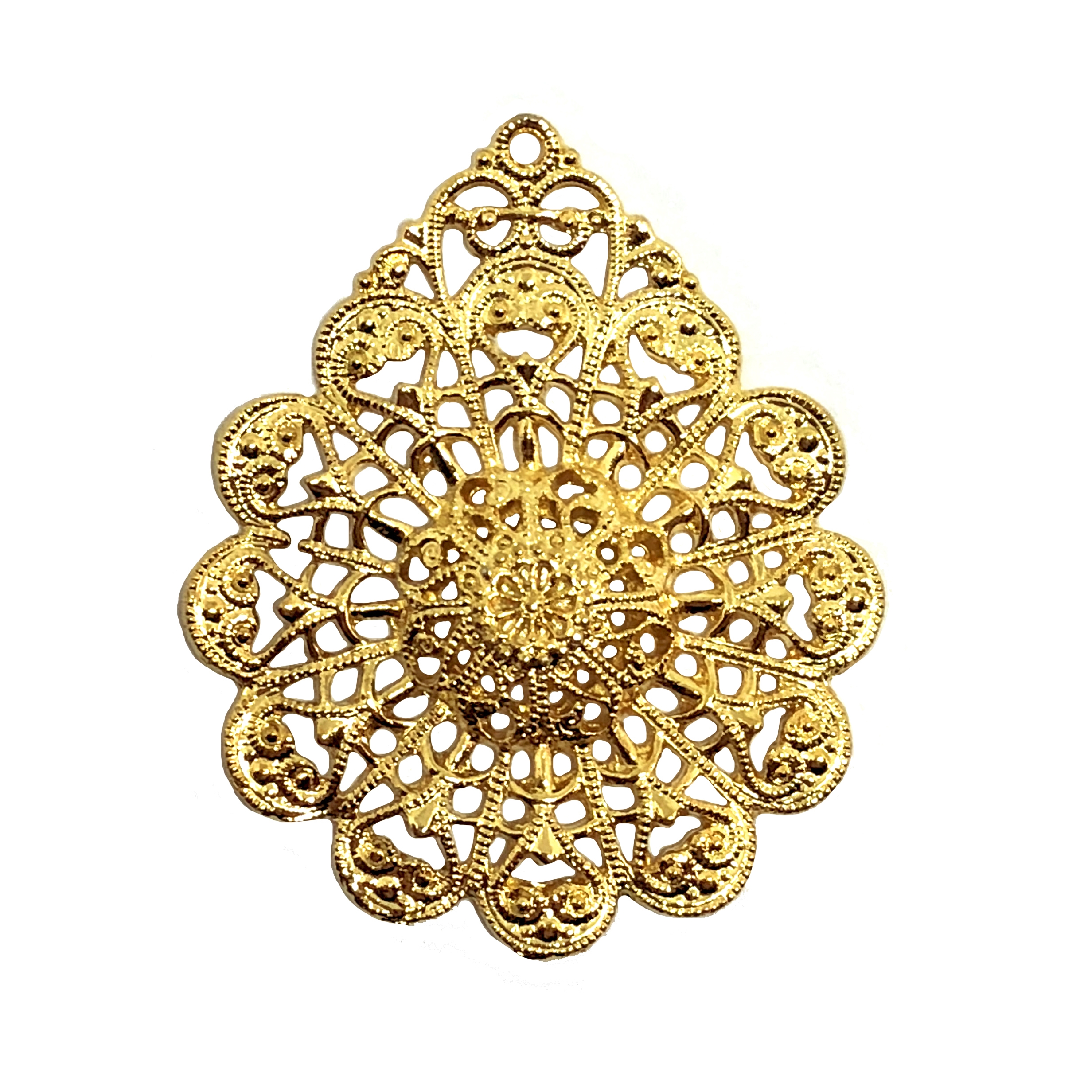 filigree flower pendant, 22K gold finish pewter, B'sue by 1928, jewelry pendant, pendant, filigree pendant, charm filigree, gold, lead free pewter, gold finish, US made, designer jewelry, vintage supplies, lacy edge, B'sue Boutiques, 38x32mm, 08516
