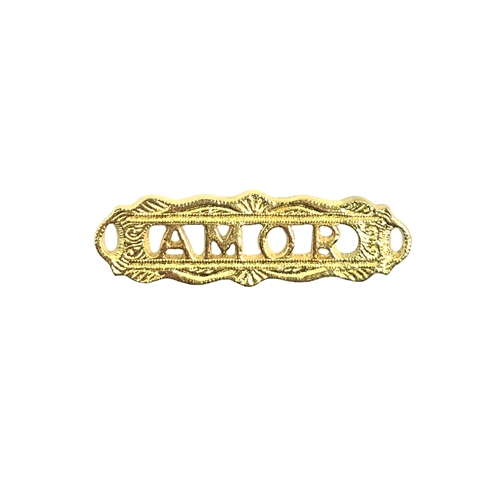 amor (love) connector, 22K gold finish pewter, B'sue by 1928, jewelry connector, vintage style, bracelet bar, amor, love connector, gold, lead free pewter, gold finish, US made, designer jewelry, vintage supplies, B'sue Boutiques, 10x32mm, 08520