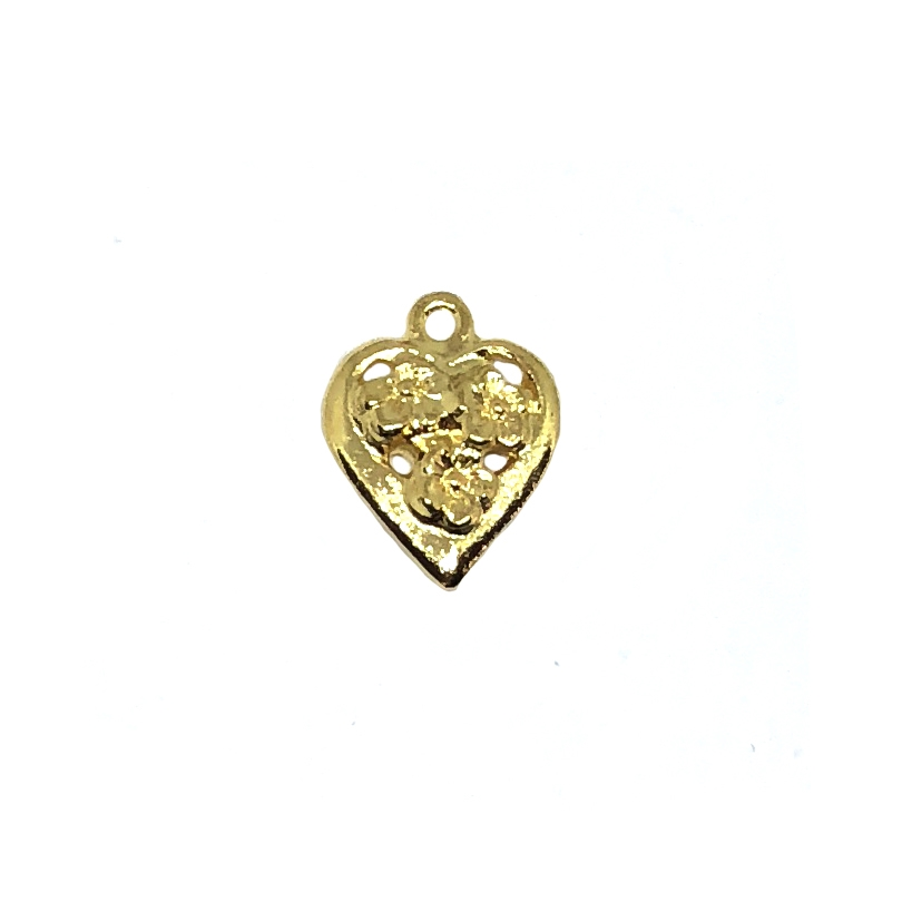 floral puffy heart charm, 22K gold finish pewter, B'sue by 1928, jewelry charm, heart charm, nickel free, heart, charm, gold, lead free pewter, gold finish, US made, designer jewelry, vintage supplies, B'sue Boutiques,floral heart charm, 15x13mm, 08526