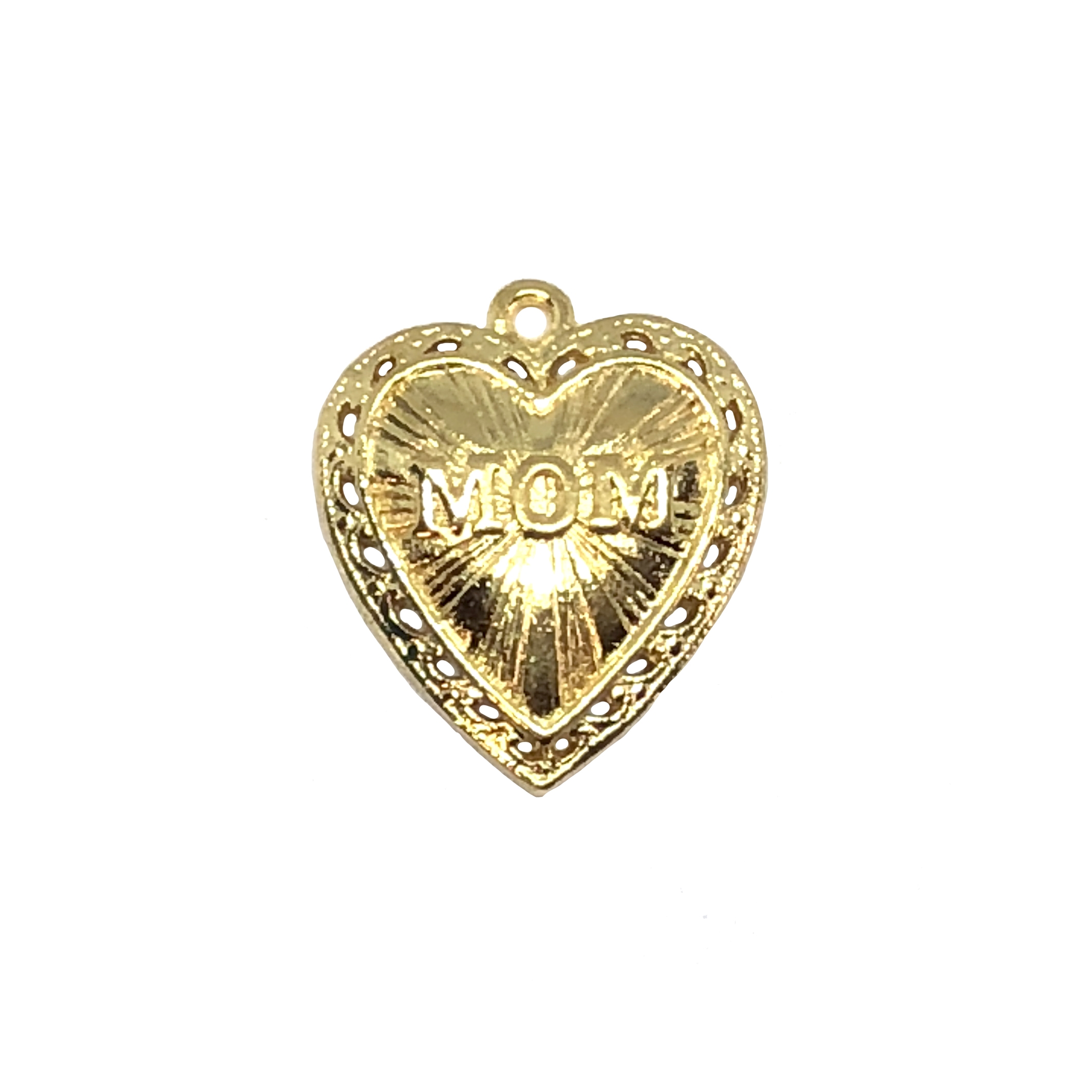 mom heart pendant, 22K gold finish pewter, B'sue by 1928, pendant, heart pendant, charm, mom, mom jewelry, gold, lead free pewter, gold finish, US made, designer jewelry, vintage supplies, B'sue Boutiques, 24x21mm, 08527