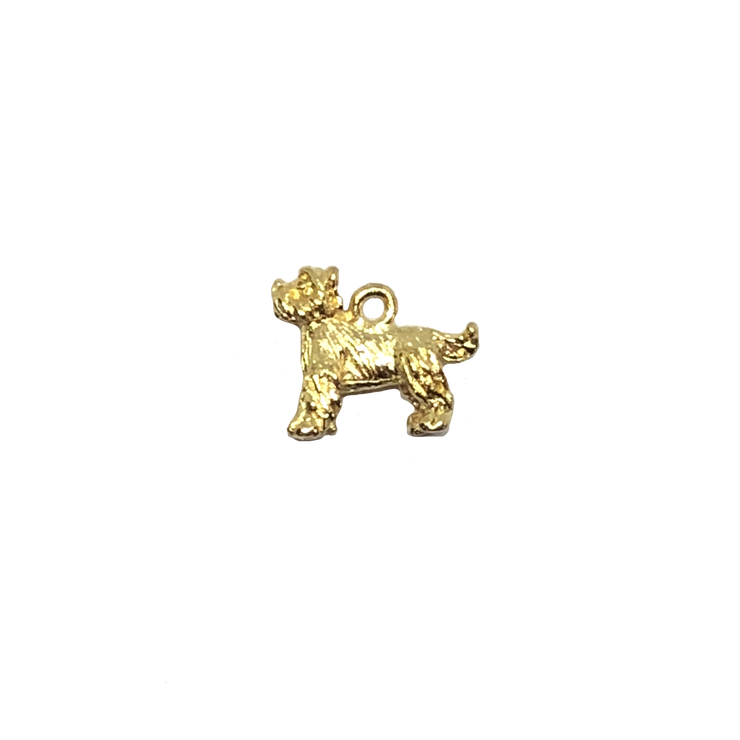 Scottish terrier charm, 22K gold finish pewter, B'sue by 1928, jewelry charm, dog stamping, dog, dog charm, charm, Scottish terrier, gold, lead free pewter, gold finish, US made, designer jewelry, vintage supplies, B'sue Boutiques, 16x12mm, 08528