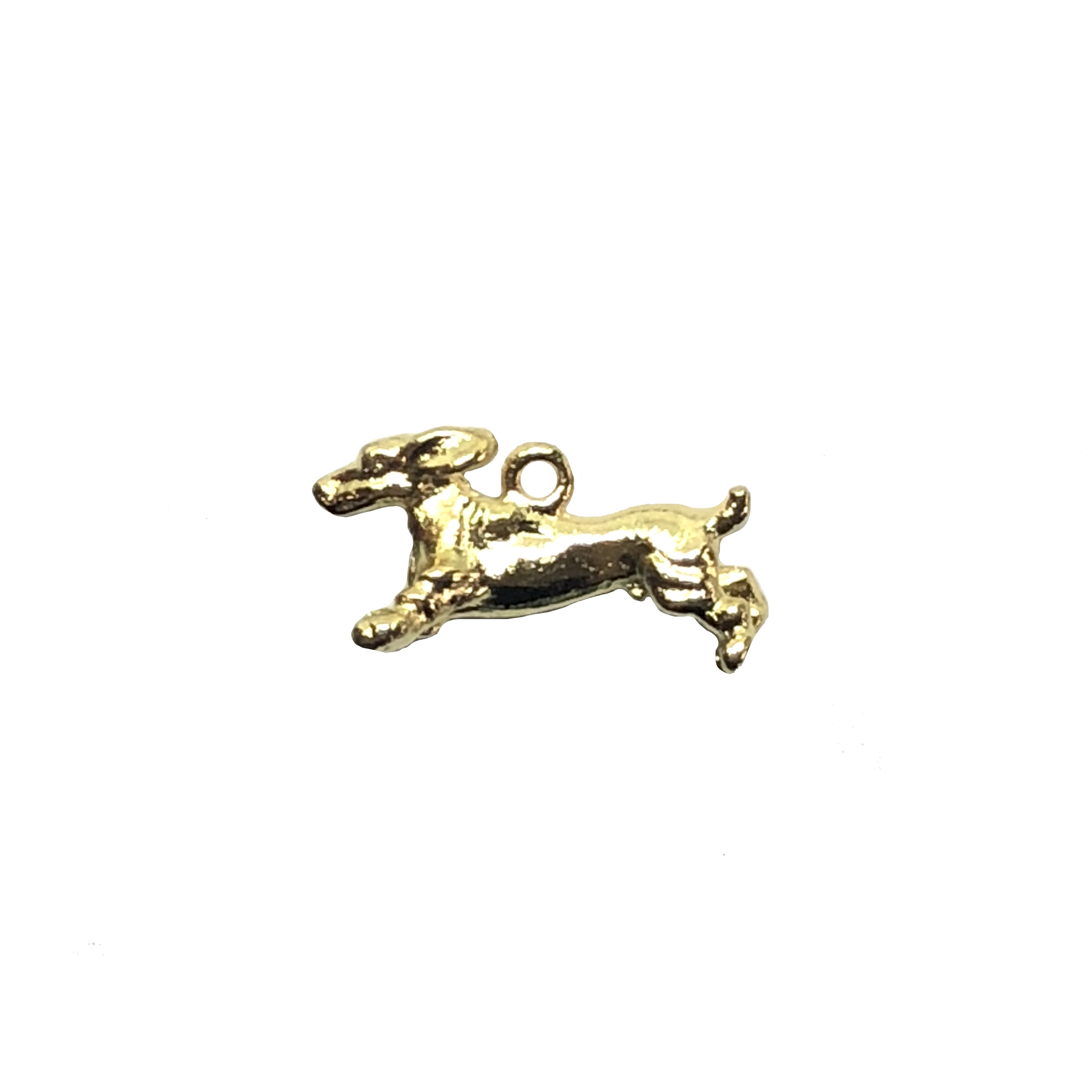Dachshund charm, 22K gold finish pewter, B'sue by 1928, jewelry charm, dog, dog charm, charm, dachshund, gold, lead free pewter, gold finish, US made, designer jewelry, vintage supplies, B'sue Boutiques, 20x10mm, 08529