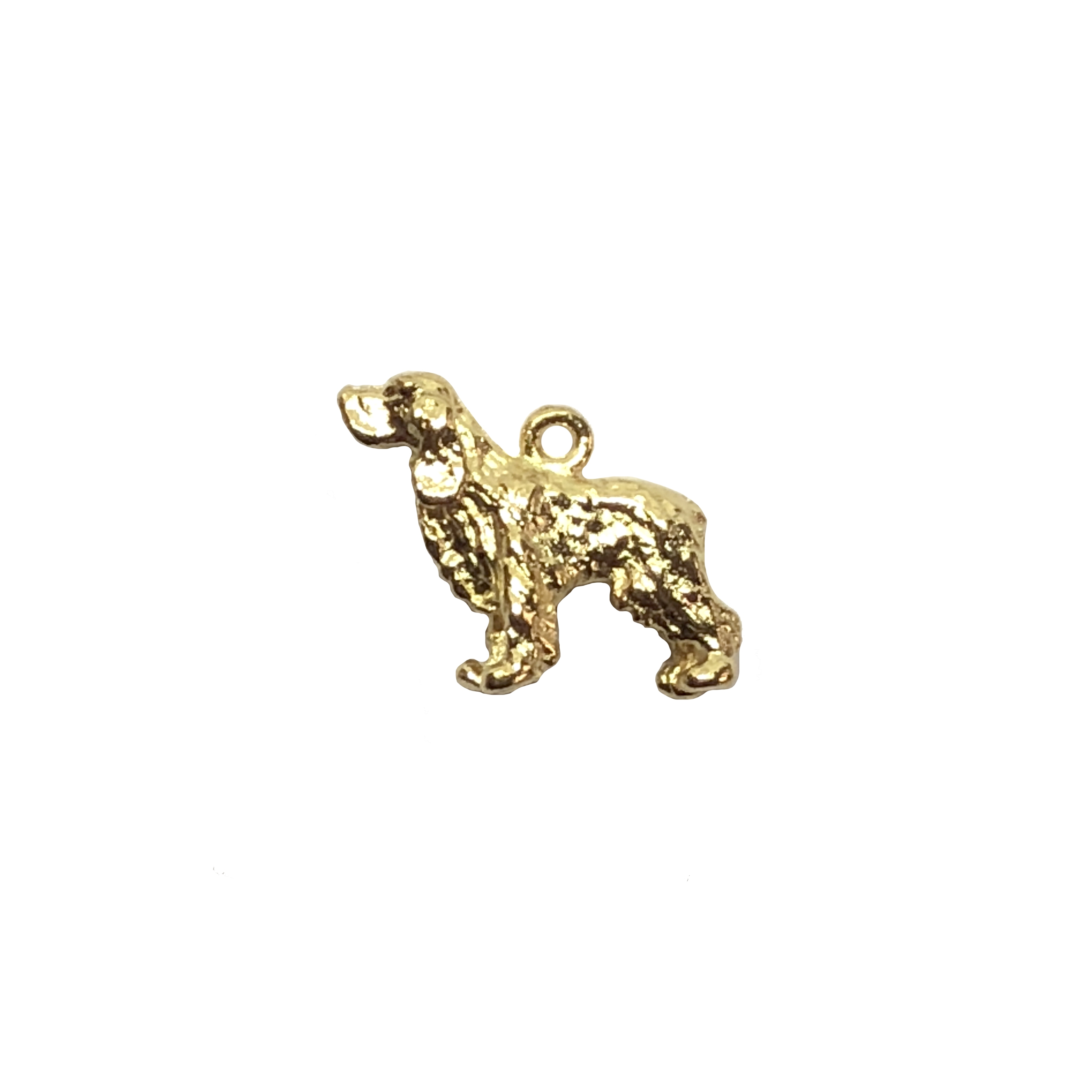 cocker spaniel charm, 22K gold finish pewter, B'sue by 1928, jewelry charm, dog, dog charm, charm, cocker spaniel, gold, lead free pewter, gold finish, US made, designer jewelry, vintage supplies, B'sue Boutiques, 12x11mm, 08531