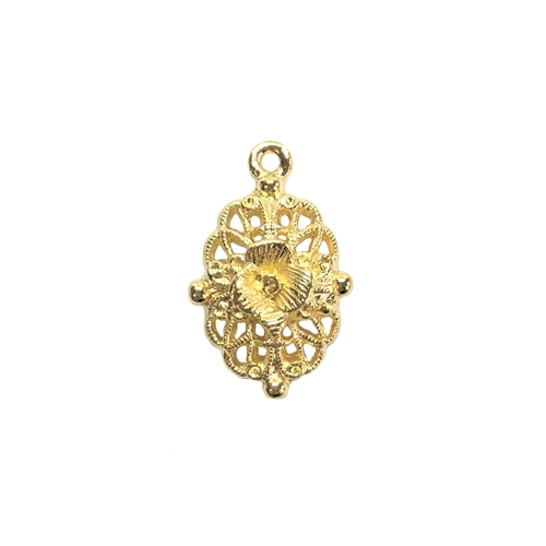 filigree flower charm, 22K gold finish pewter, B'sue by 1928,  jewelry charm, flower, floral, charm, filigree, drop, filigree drop, gold, lead free pewter, gold finish, US made, designer jewelry, vintage supplies, B'sue Boutiques, 24x15mm, 08535