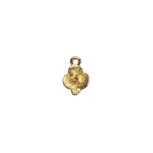 flower charm, 22K gold finish pewter, B'sue by 1928,  jewelry charm, flower, floral, charm, flower drop, drop, floral charm, filigree drop, gold, lead free pewter, gold finish, US made, designer jewelry, vintage supplies, B'sue Boutiques, 13x9mm, 08536