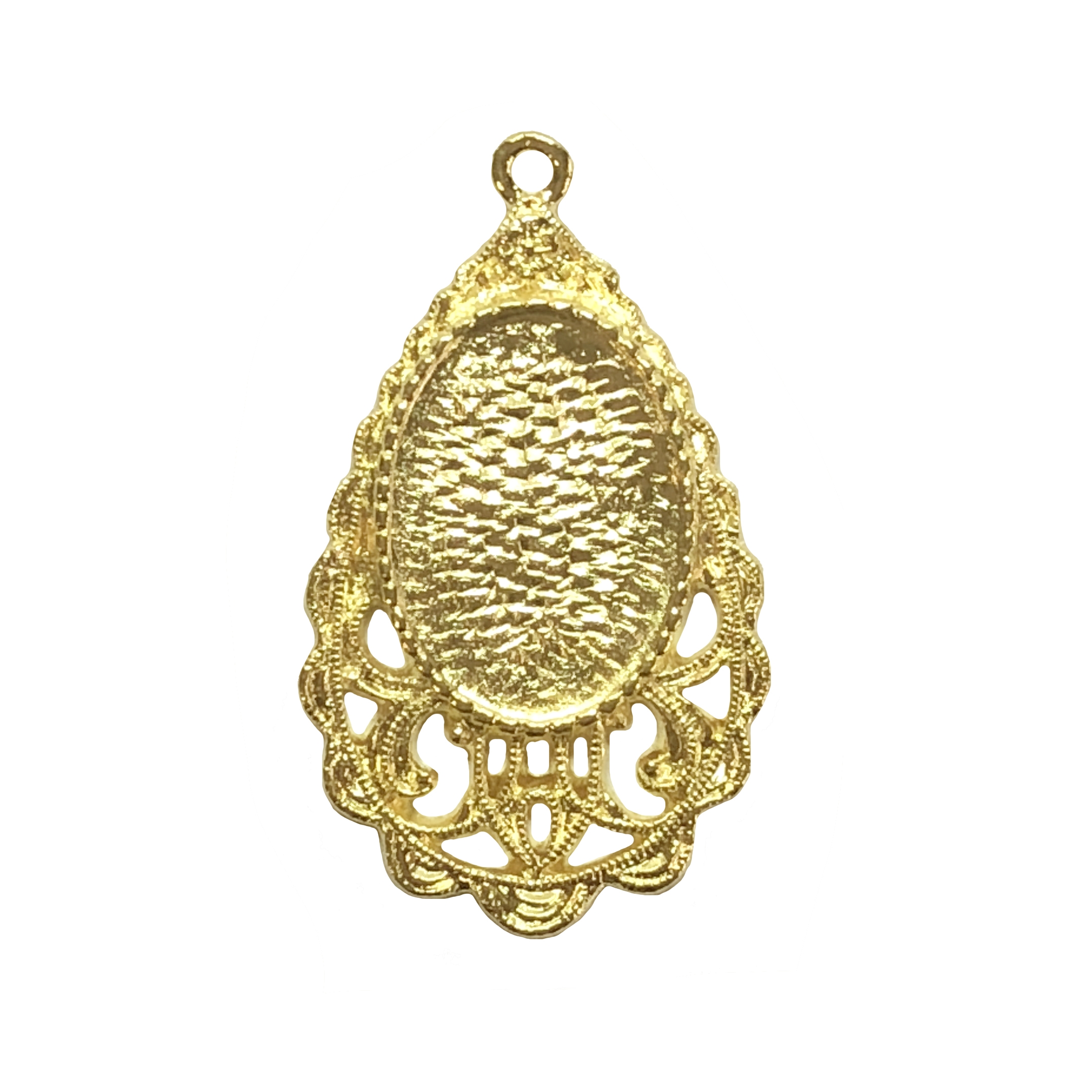 Victorian teardrop mount pendant, 22K gold finish pewter, B'sue by 1928, jewelry pendant, pendant, charm, teardrop, vintage style, gold, lead-free pewter, gold finish, US-made, designer jewelry, vintage supplies, B'sue Boutiques, 34x22mm, 08538