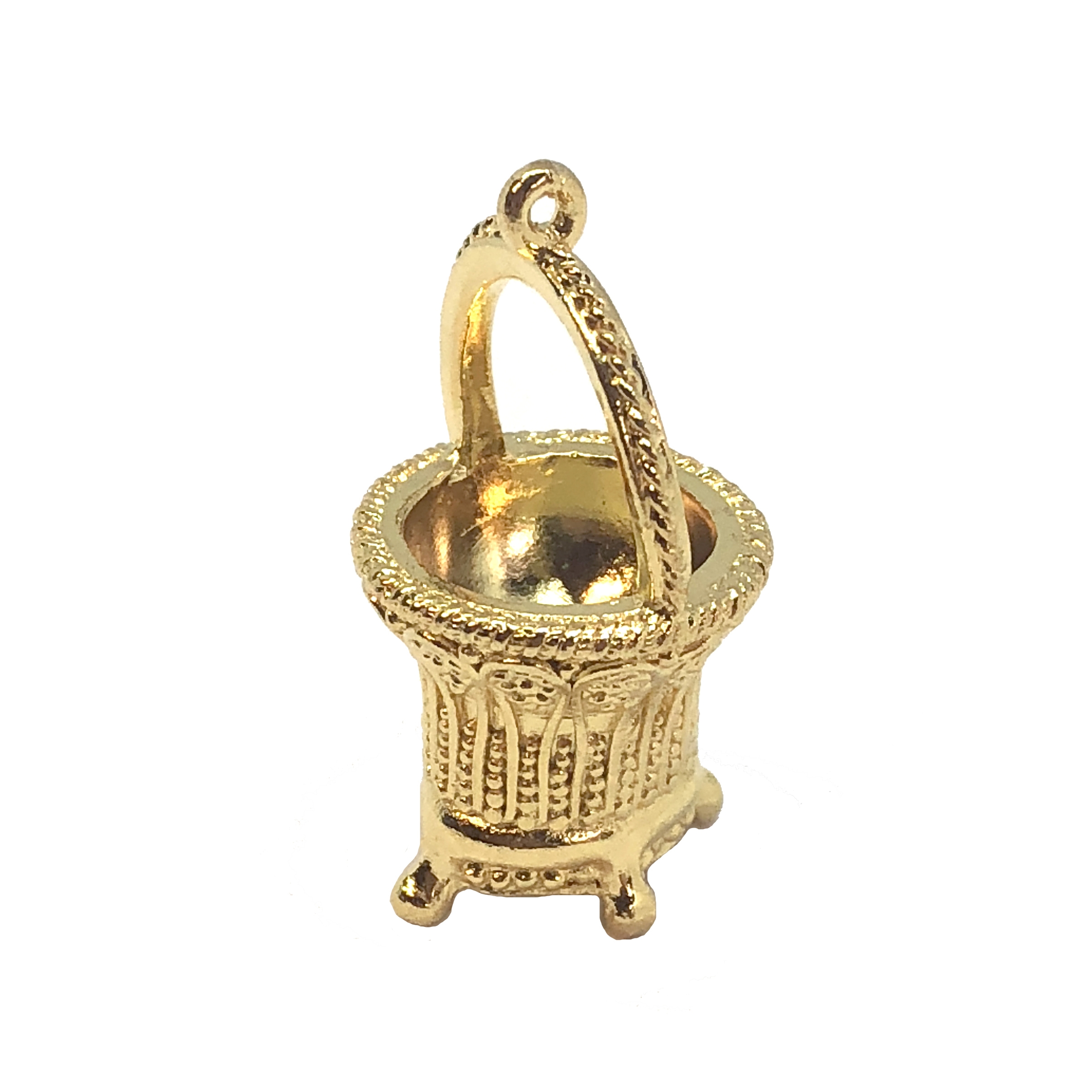 vintage basket pendant, 22K gold finish pewter, B'sue by 1928, jewelry pendant, pendant, basket, jewelry basket, Victorian style, gold, lead free pewter, gold finish, US made, designer jewelry, vintage supplies, mount, B'sue Boutiques, 38x21mm, 08539
