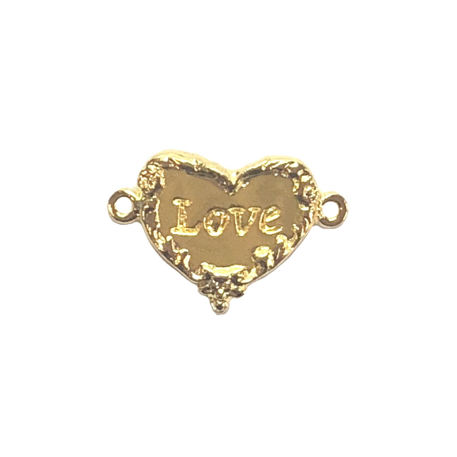 Victorian heart love connector, 22K gold finish pewter, love inscription, love heart, heart connector, vintage style, B'sue by 1928, lead free pewter castings, cast pewter jewelry findings, US made, heart, 1928 Company, B'sue Boutiques, 18x20mm, 08541