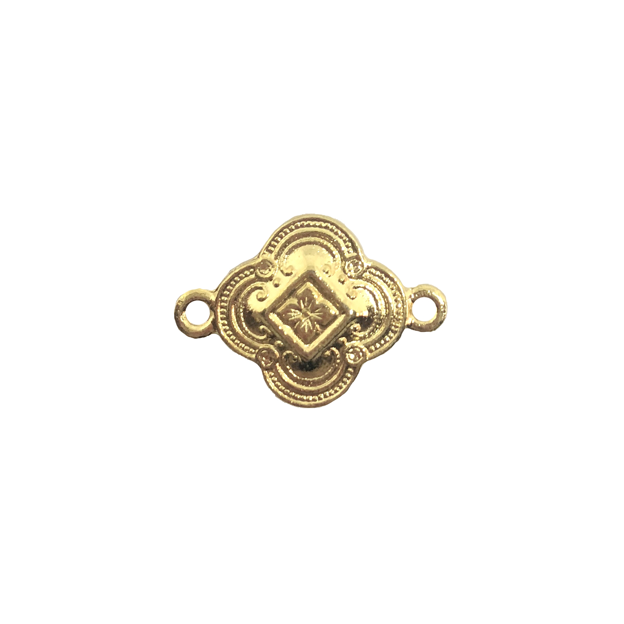 small Victorian connector, 22K gold finish pewter, connector, B'sue by 1928, 15mm, B'sue Boutiques, US made, jewelry connector, charm, pewter base, plated pewter, Victorian design, floral connector, lead free pewter, vintage supplies, gold, 08545
