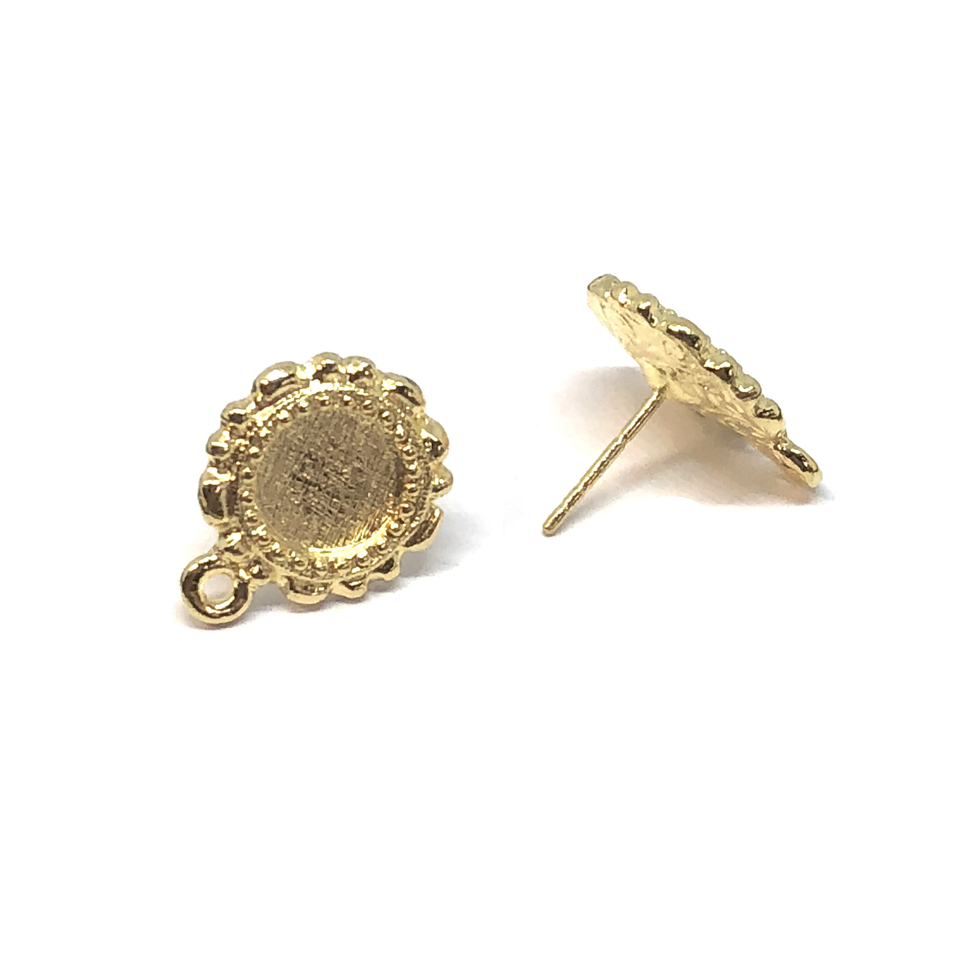 mount earring stud with accent drop, 22K gold finish pewter, earring with stone sets, round earrings, accent drop, vintage style, B'sue by 1928, lead free pewter castings, cast pewter jewelry findings, US made, 1928 Company, B'sue Boutiques, 16x13mm,08549