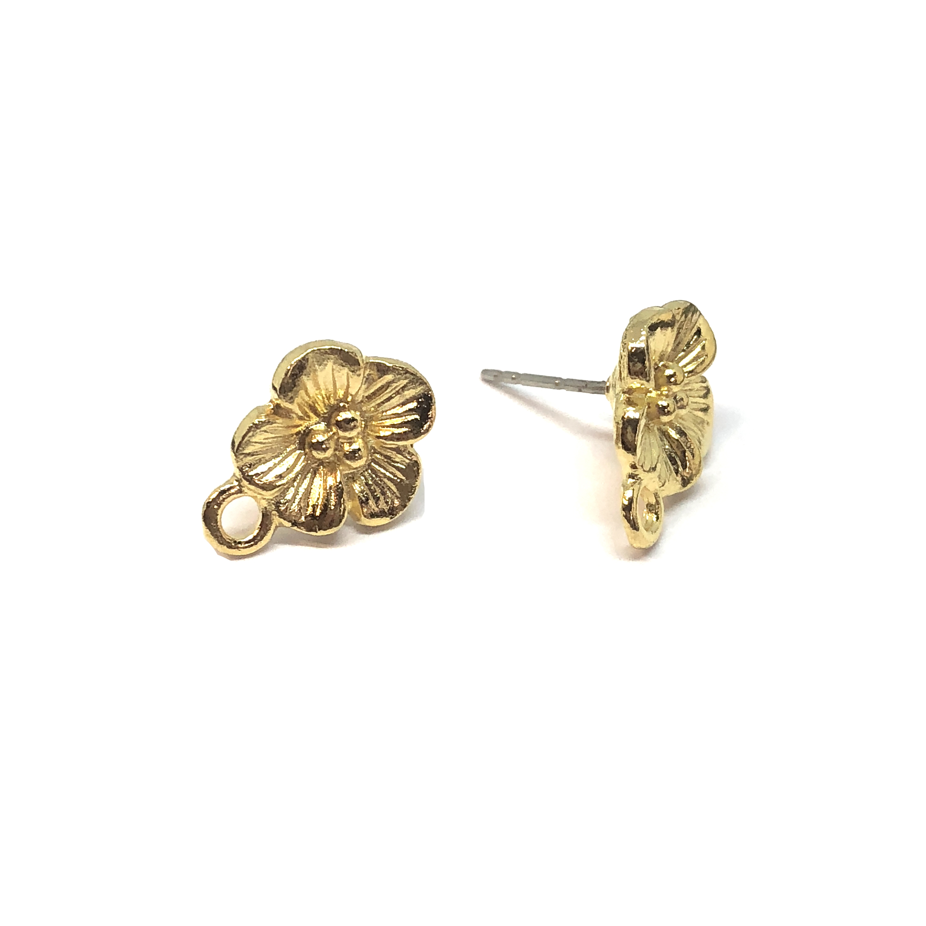 flower earring stud with accent drop, 22K gold finish pewter, five petal earrings, accent drop, vintage style, B'sue by 1928, lead free pewter castings, cast pewter jewelry findings, US made, 1928 Company, B'sue Boutiques, gold, 15x11mm, 08551