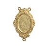 lavalier mount pendant, 22K gold finish pewter, Victorian pendant, lead free pewter, mount, pendant, B'sue by 1928, vintage jewelry parts, pewter jewelry parts, US made, 1928 Company, designer jewelry, B'sue Boutiques, lavalier, gold, triple hole, 08555