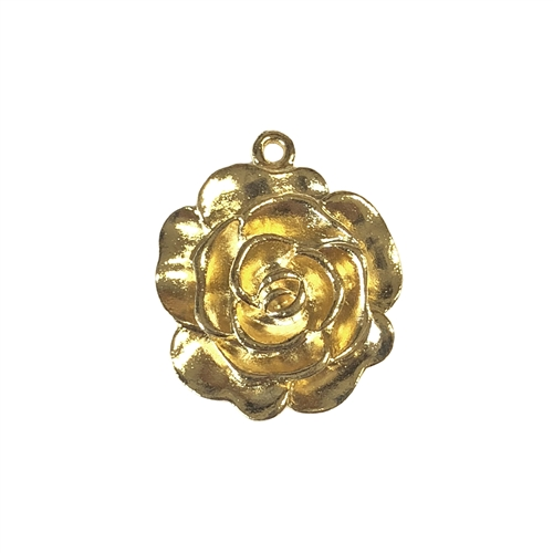 rose pendant, 22k gold finish pewter, rose, rose charms, lead free, pewter castings, cast pewter jewelry parts, vintage, 1928 Jewelry, B'sue Boutiques, B'sue by 1928, vintage charms, vintage jewelry findings, pewter jewelry findings, 22mm, 08561