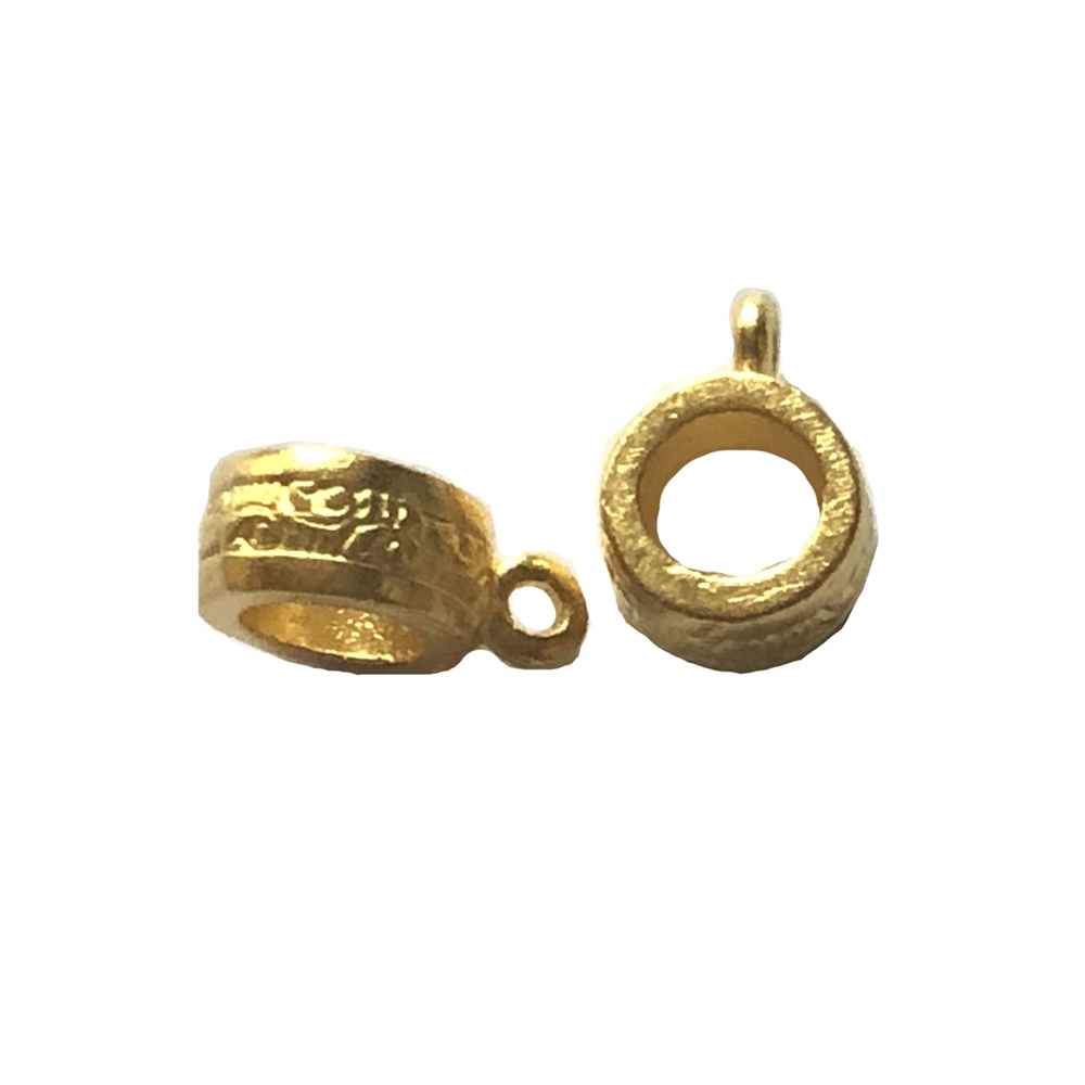 round bail connector, 22K gold finish pewter, bail, bail connector, jewelry bail, jewelry bail connector, gold, bright gold, jewelry gold, 22K gold 22K gold finish, 8mm, patterned bail, necklace bail, earring bail, jewelry supplies, jewelry making, 08951