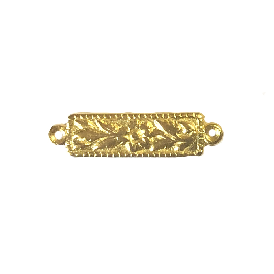 floral rectangle jewelry connector, 22K gold finish pewter, floral connector, jewelry connector, connector, rectangle connector, floral design, bracelet making, 22K gold, 22K gold finish, bright gold, gold, 6x18mm, jewelry supplies, gold supplies, 08954
