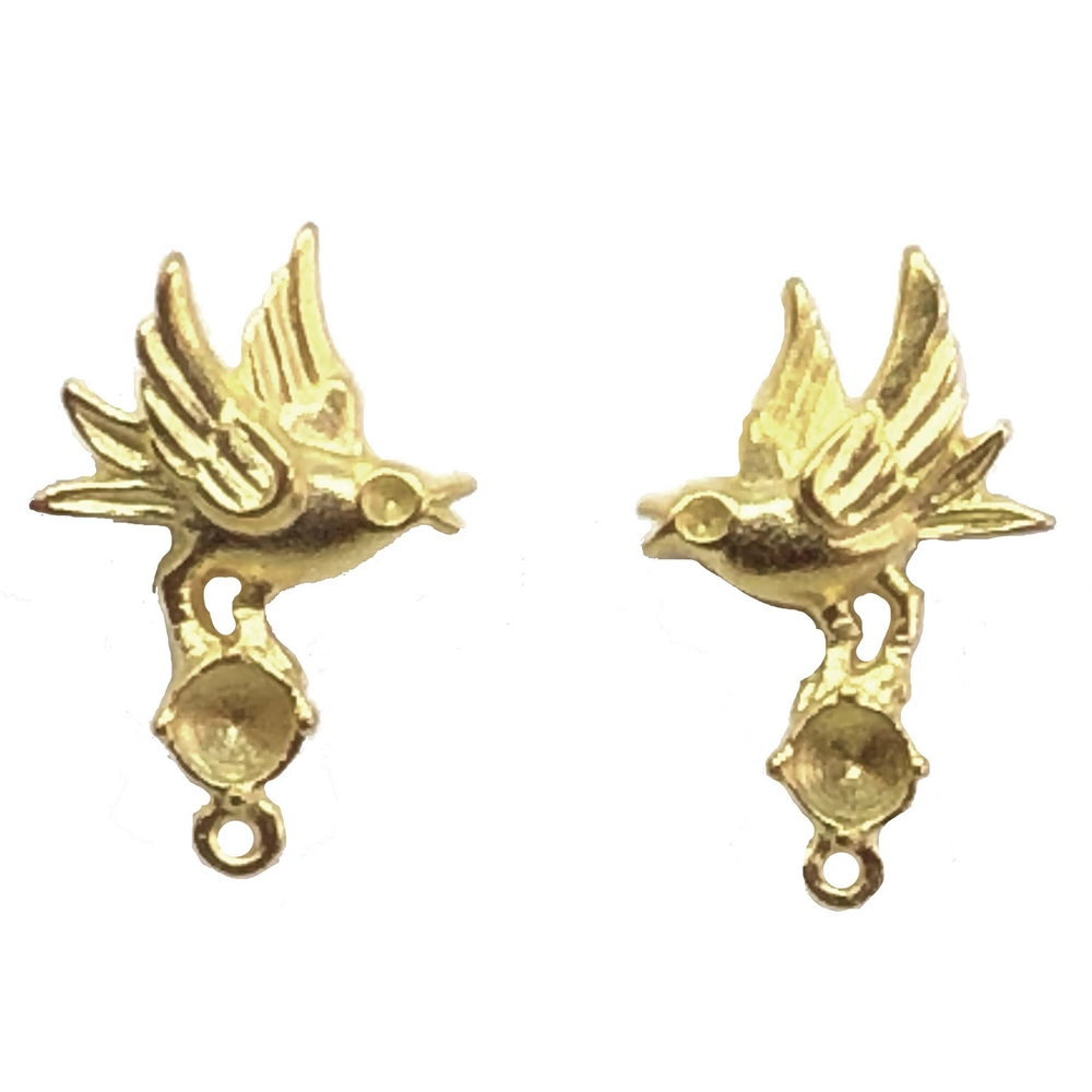 bird earring  with stone set drop, 22K gold finish pewter, bird earrings, accent drop, vintage style, B'sue by 1928, lead free pewter castings, cast pewter jewelry findings, US made, 1928 Company, B'sue Boutiques, 22k gold plate, 08962