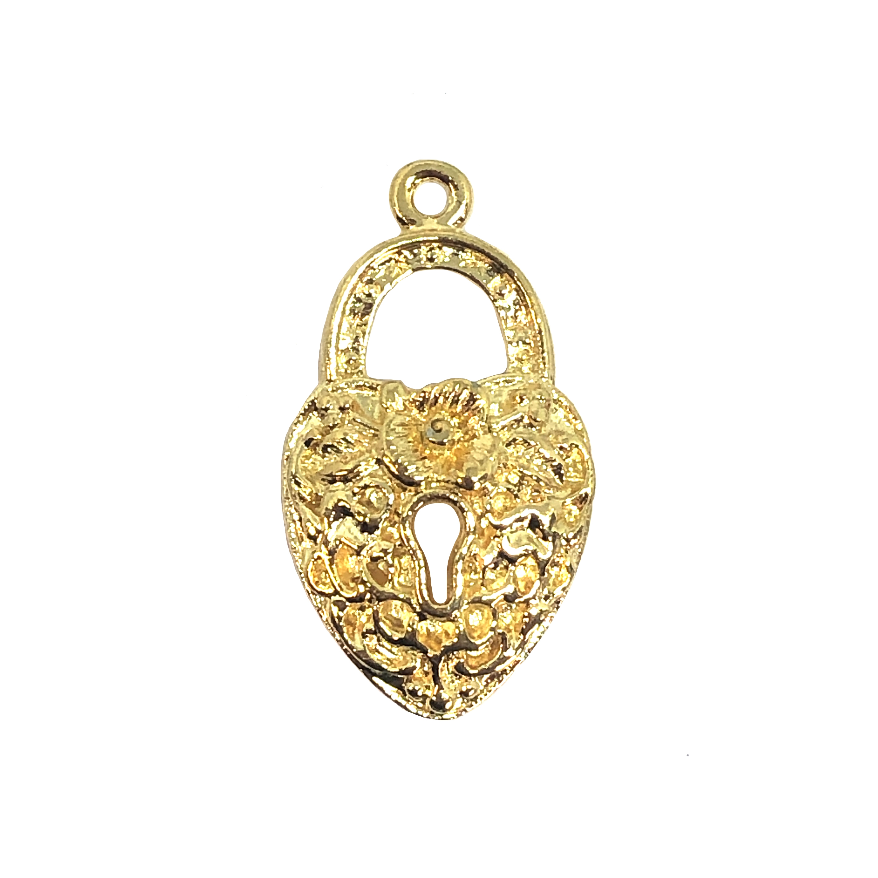22K plated heart lock pendant, 09492, gold dipped, 22K, heart pendant, vintage, B'sue by 1928, lead free pewter castings, cast pewter jewelry findings, made in the USA, key hole lock, 1928 Company, B'sue Boutiques, lock