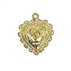 filigree rose heart pendant, 22K gold finish pewter, heart pendant, heart charm, rose pendant, rose charm, heart rose pendant, heart rose charm, gold, bright gold, 22K gold finish, 22K gold, jewelry pendant, filigree heart, 22x23mm, heart, 09493