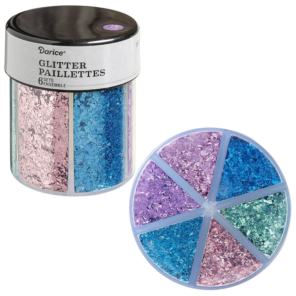 6-color shredded glitter caddy, pastels glitter, glitter, caddy glitter, glitter paillettes, mixed media supplies, purple, light pink, blue, green, steampunk art, jewelry making, vintage supplies, glitter supplies, jewelry supplies, B'sue Boutiques, 02438