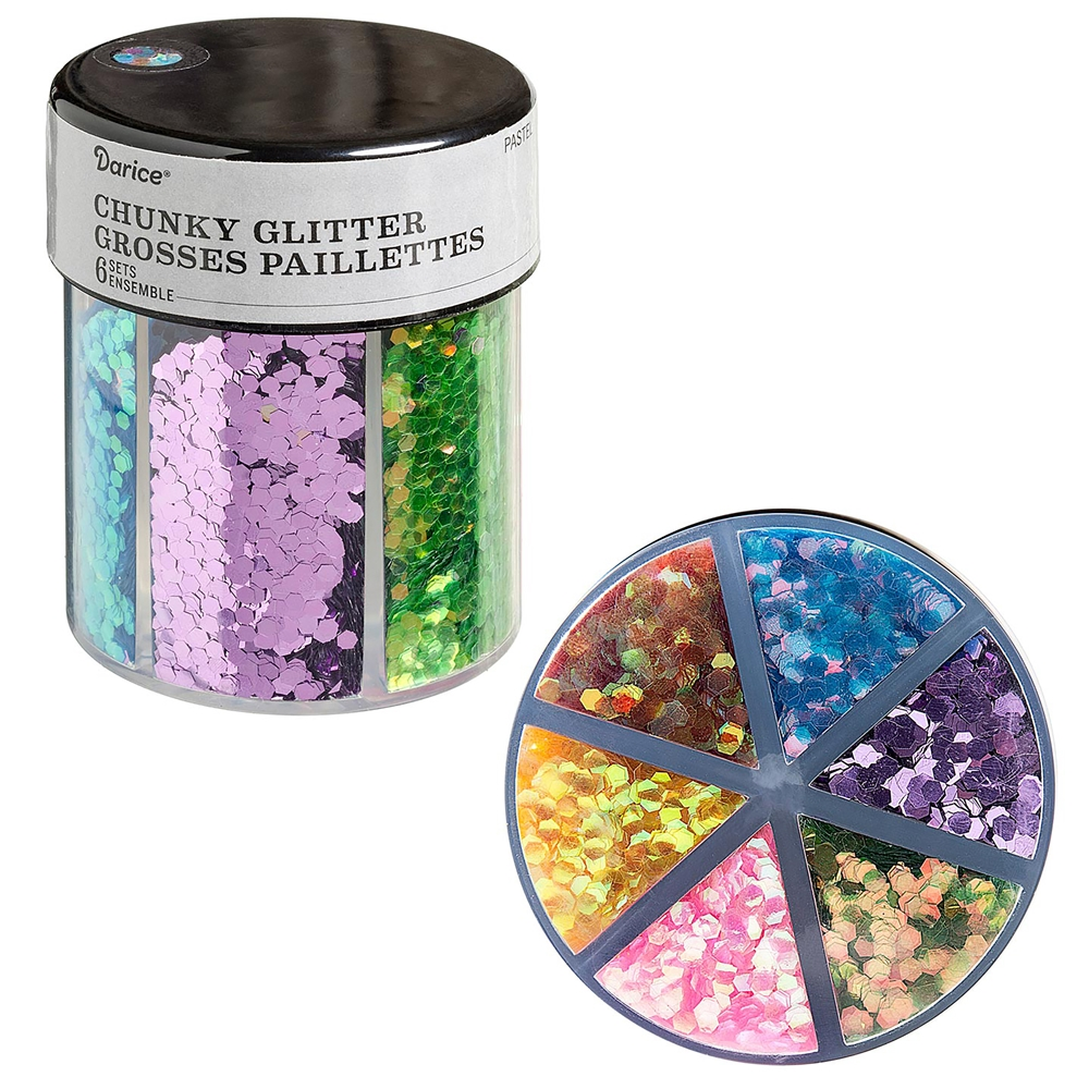 6-color chunky glitter caddy, pastels glitter, glitter, caddy glitter, glitter paillettes, mixed media supplies, purple, pink, blue, green, yellow, steampunk art, jewelry making, vintage supplies, glitter supplies, jewelry supplies, B'sue Boutiques, 02439