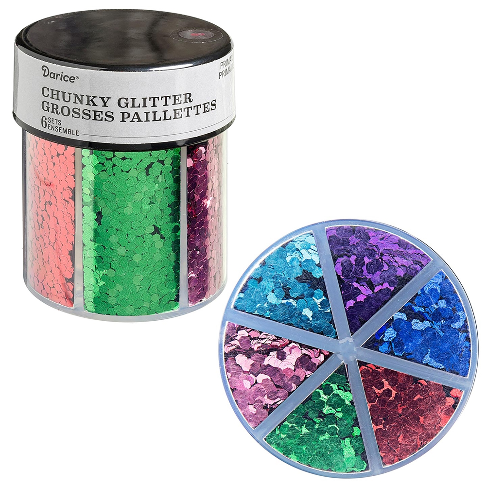 6-color chunky glitter caddy, primary glitter, glitter, caddy glitter, glitter paillettes, mixed media supplies, purple, pink, blue, green, red, steampunk art, jewelry making, vintage supplies, glitter supplies, jewelry supplies, B'sue Boutiques, 02458