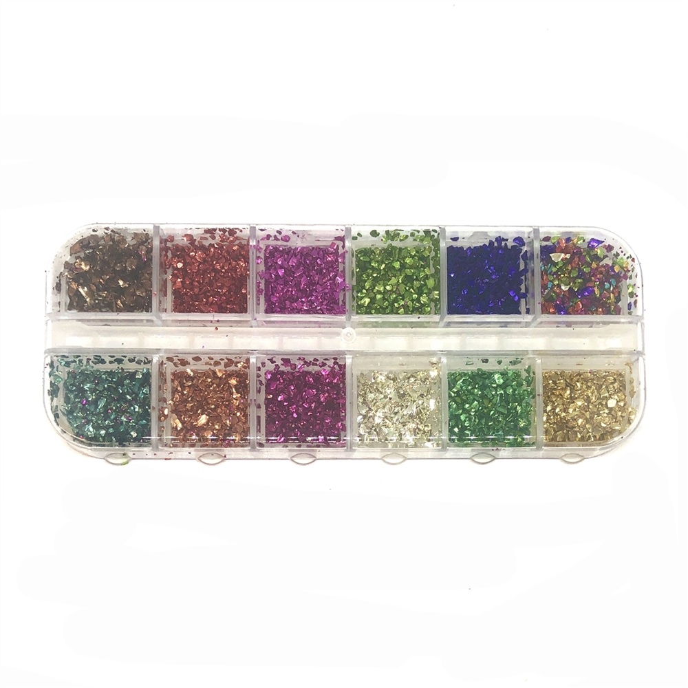 Assorted Foil Glitter, Rainbow colors, 09172, glitter, assorted, assorted colors, rainbow colors, foil flakes, resin, B'sue Boutiques, jewelry supplies, jewelry making, embellishments